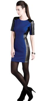 This body con dress is a sexy addition for your wardrobe. The leather is  a daring detail that makes this a date night dress.