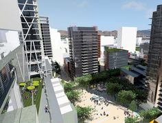 View of the Stevenson Paseo surrounded by active retail storefronts, office space and condo towers.