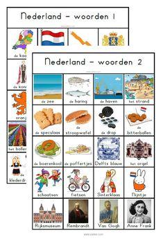 woordenbladen thema Nederland Dutch Language, Holland Netherlands, Sensory Bins, School Projects, Girl Scouts, Bingo, Writing Tips, Big Kids, Geography
