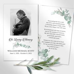 memorial-cards-for-funeralFuneral Mass Cards designed with sprigs of watercolor eucalyptus and your loved one's photo. The gorgeous design is perfect for a memorial service keepsake for friends and family.