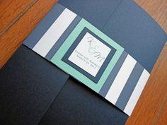 Striped Pocketfold Wedding Invitation - Navy Blue and Aqua. $5.00, via Etsy.