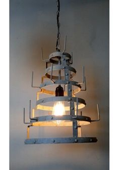 French Factory Wine Bottle Dryer Pendant Ceiling Light Chandelier Fixture Old Style