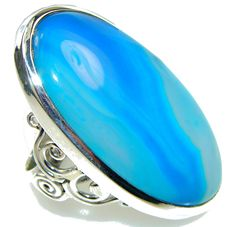 $54.95 Amazing Blue Botswana Agate Sterling Silver Ring s. 9 at www.SilverRushStyle.com #ring #handmade #jewelry #silver #agate