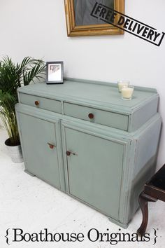 Shabby Chic Vintage Art Deco Sideboard Storage Cupboard Painted in Annie Sloan | SOLD