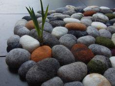 Felt stone rug / bath mat super soft with soft core merino, lama & alpaca