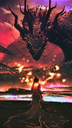 Dragon, sea monster, woman, fantasy, art, 720x1280 wallpaper