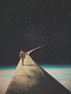We chose this road my dear. Don't look back, don't be afraid, you are not alone. -vintage collage man space universe retro retrofuture surreal walking road frank moth pop art stars loneliness graphic design Source by Surreal Collage, Surreal Art, Collage Art, Collages, Art Pop, Psychedelic Art, Trippy, Vintage Collage, Vintage Art