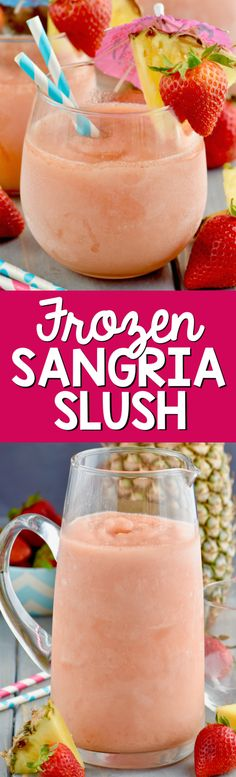 The Chic Technique: This Frozen Sangria Slush is just five ingredients, comes together in the blender, and will be the hit of the party! Make a double batch! Refreshing Drinks, Summer Drinks, Fun Drinks, Summer Desserts, Party Drinks, Mixed Drinks, Sangria Recipes, Cocktail Recipes, Wine Recipes