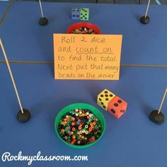 Activity set up for parents morning - trying to encourage children to count on to find the total of 2 dice - EYFS numeracy. Maths Eyfs, Numeracy Activities, Addition Activities, Preschool Math, Kindergarten Math, Measurement Activities, Math Games, Year 1 Maths, Early Years Maths