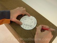 How to install recessed lighting into a faux wood beam. Instructions including a downloadable PDF at http://www.fauxwoodbeams.com/beams_install_light.php