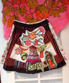 Mexican Art Folklore Folklorica Upcycled SKIRT / Apron.