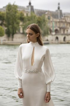 ALLA Dress from the Evyatar Myor bridal collection ○ a silk satin open back tear shaped cleavage and hand made embroidery belt Bridal Gowns, Wedding Gowns, Bell Sleeve Dress, Bell Sleeves, Long Sleeve Wedding, Bridal Collection, Dream Wedding, Perfect Wedding, Beautiful Bride