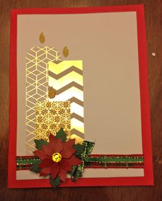 Gold Foil Candles, Poinsettia, and Ribbons.