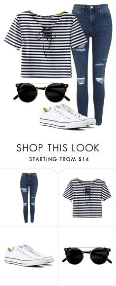 """Untitled #1217"" by brisheliot ❤ liked on Polyvore featuring Topshop, Chicnova Fashion and Converse"