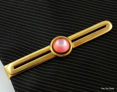 cee2b6b9f947 Vintage Swank Gold Tone Tie Clip with Pink Cabochon | The Tie Chest Men's  Jewellery,
