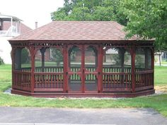 12'x20' Wood Oval Gazebo with Screen Package and Mahogany Stain