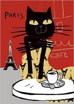 Cat in Paris Illustration Parisienne, Paris Illustration, Illustrations, Crazy Cat Lady, Crazy Cats, I Love Cats, Cool Cats, Black Cat Art, Black Cats
