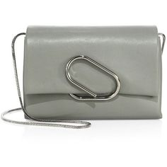 3.1 Phillip Lim Alix Soft Flap Leather Chain Clutch (3.475 RON) ❤ liked on Polyvore featuring bags, handbags, clutches, cement, handbags - phillip lim, man bag, chain-strap handbags, genuine leather handbags, purse clutches and leather handbag purse