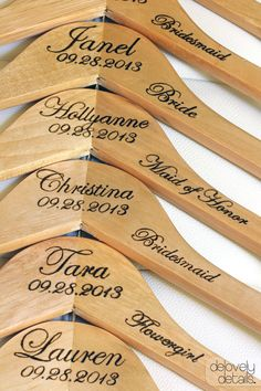 Bridesmaid Gift- Personalized  Wooden Wedding Hanger