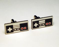Nintendo style video game controller silver cuff links in FREE box, groom, wedding on Etsy, $25.00