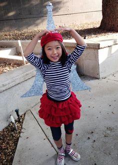French girl costume tutorial, diy, handmade, goodwill finds, foam board eiffel tower, easy halloween costume, handmade costumes, last minute costumes for girls