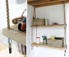 Scaffold board and hemp hanging shelving