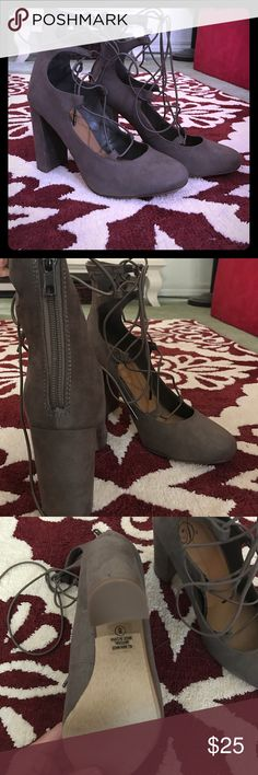 Delicious brand Grey Suede Lace up pumps Brand new with box. Never worn grey suede Lace up pumps. Back zipper detail. delicious Shoes Heels