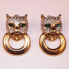 50% OFF Was $65.00 Vintage Rhinestone Panther Door Knocker Earrings