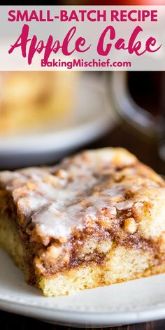 This Small Apple Cinnamon Cake is decadent and moist with big swirls of apple and cinnamon and a sweet powdered sugar glaze that sets and crinkles when you cut into it. Apple Recipes, Gourmet Recipes, Baking Recipes, Cake Recipes, Dessert Recipes, Gourmet Foods, Sweet Recipes, Apple Cinnamon Cake, Cinnamon Apples