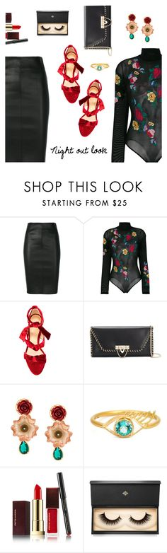 """""""Night out look"""" by dressedbyrose ❤ liked on Polyvore featuring Drome, GCDS, Alexandre Birman, Valentino, Dolce&Gabbana, Marie Hélène de Taillac, Kevyn Aucoin, Lash Star Beauty, NightOut and ootd"""