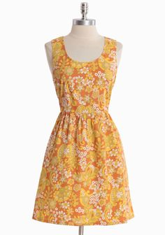 """Fun And Groovy Floral Dress By Tulle 59.99 at shopruche.com. A vintage-inspired floral print swirls and dances over this muted burnt orange dress by Tulle. Finished in a luxurious cotton blend, the silhouette features hidden side pockets, delicate bow details, and a hidden back zipper closure.95% Cotton, 5% Spandex, Imported, 34"""" length from top of shoulders"""