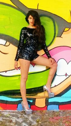 7b512d9d2f131 Shop Kami Shade  - Black Bomshell Sequin Long Sleeve Shorts Romper