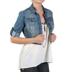 Hailey Jeans Co Juniors Cropped Leopard Print Denim Jacket $16.99