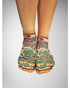 TMNT Pizza Party No Show Ankle Sock 3 Pack - Spencer's