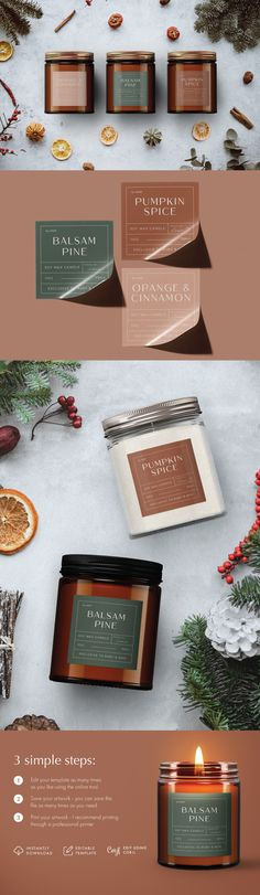 Take your candle products to the next level with these editable candle label designs OR gift your family and friends a personalized hand made candle this Christmas season! Use our beautiful modern festive fall inspired colour pallete or choose your own background color. No need for photoshop, simply follow the instructions and edit using the provided link. These modern Christmas candle labels are the perfect way to get festive this season! Candle Packaging, Candle Labels, Personalized Candles, Personalized Labels, Label Design, Package Design, Photo Candles, Homemade Candles, Colour Pallete