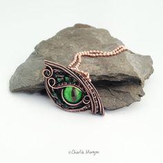 Dragon eye pendant, Bright Green Dragon's eye, Swarovski Crystal Scales, Copper wire wrapped dragon eye necklace pendant