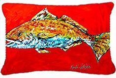 Caroline's Treasures MW1111PW1216 Fish – Red Fish Red Head Canvas Fabric Decorative Pillow, Large, Multicolor