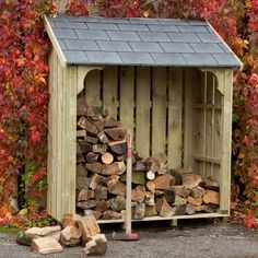 Okeford Log Store, 5ft wide, with Slate Tiled Roof