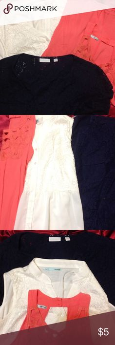 Spring time tops! White lace and chiffon bottom sleeveless. Corral top with crochet detailing. Navy blue lace button up can be a Cardigan as well! These tops say I'm ready spring...and I'm darling🤗 $5-single top $7-two tops $20-five tops Maurices Tops Blouses