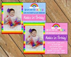 Rainbow Birthday Personalized Photo Invite by PeriwinklePress, $8.99