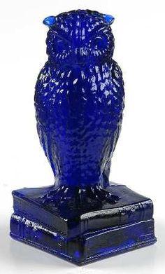 Vintage Degenhart Cobalt Blue Glass Owl