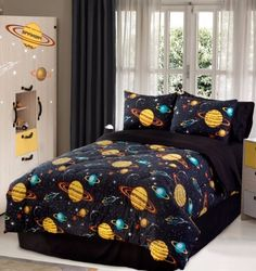 Sheet Set and Decorative Toy Pillow 8 Piece Full Size Kids Boys Teens Comforter Set Bed in Bag with Shams Space Planets Rockets Blue Print Blue Multicolor Boys Kids Comforter Bedding Set w//Sheets