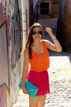Orange Tank Hot Pink Skirt Aqua Clutch
