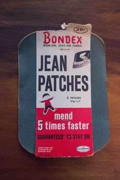 Vintage 50s Bondex Iron-On Jean Patches- Army Green-Midcentury Sewing Notion by JenuineCollection on Etsy