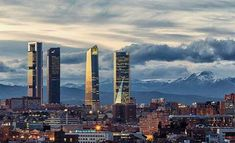 Photograph Madrid skyline by Carlos Luque on Madrid Skyline, New York Skyline, Snowy Mountains, Dark Backgrounds, San Francisco Skyline, Cool Photos, Clouds, Architecture, City