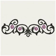Wind Bell Embroidery Embroidery Design: Wrought Iron Floral 2.00 inches H x 5.87 inches W