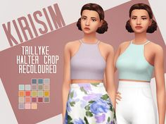 """kirisim: """" HALTER CROP RECOLOURED """"- 21 colours - ghardenia's Clover Shades - additional swatches to the original mesh - requires the original mesh by @trillyke """"    Download """""""