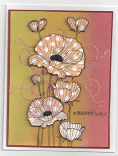 handmade card ... poppies stamp ... paper piecing with polka dot paper ... brayered background for subtle color blend ...