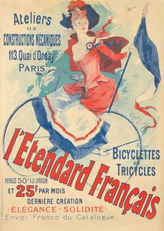 Buy online, view images and see past prices for L'Etendard Français. Vintage Travel, Vintage Ads, Vintage Posters, Tricycle, New Bicycle, Bicycle Brands, Bike Art, France, All Poster