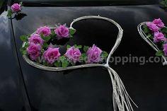 Wedding Car Decor Mauve Roses with Rattan Hearts Decoration Kit ...